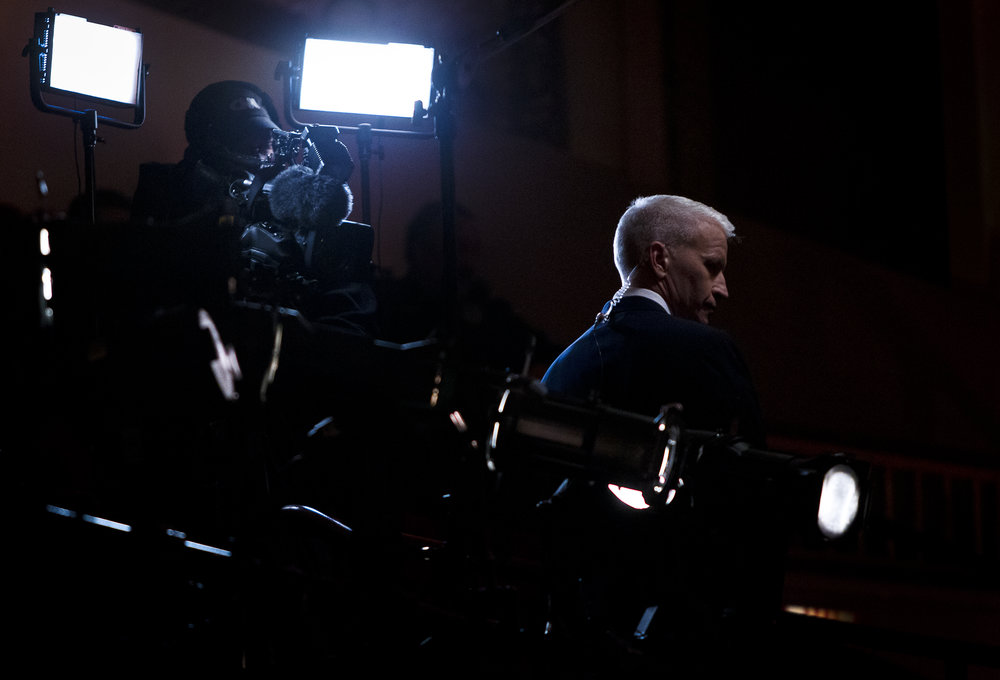 CNN anchor Anderson Cooper prepares before the CNN Town Hall in Riverside Theater on Tuesday, March 29, 2016. REUTERS/Ben Brewer