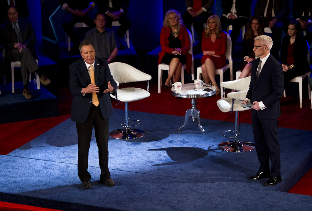 Republican Presidential candidate John Kasich R-OH, speaks during the CNN Town Hall in Riverside Theater on Tuesday, March 29, 2016. REUTERS/Ben Brewer