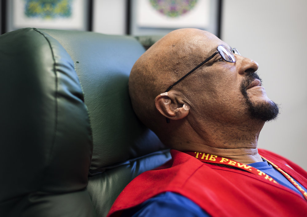 Marine Corps veteran Frank Smith, 62, receives a battlefield acupuncture treatment the Tomah VA Facility in Tomah, Wisconsin, Monday, April 23, 2018. Smith suffers from chronic lower back pain and says that he feels a great amount of pain relief from the acupuncture treatment, as well as other non-medication therapies at the VA.