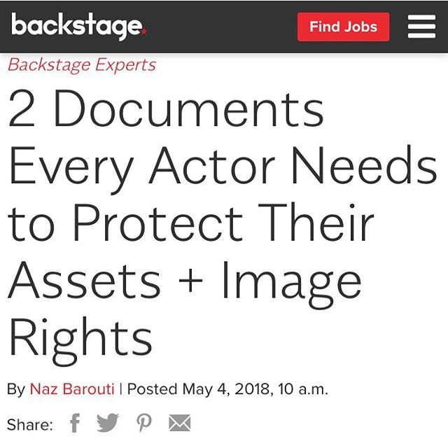 Just a little piece I wrote for @backstagecast  Check it out! 👩🏼‍💻⚖️💰 https://www.backstage.com/advice-for-actors/backstage-experts/2-documents-every-actor-needs-protect-their-assets-image-rights/  #Friday #Media #Lawyer #entrepreneur #image #10x #expert #actor #hollywood
