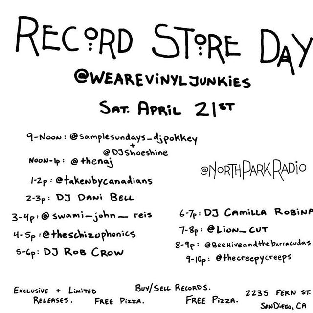 Hey kids. Like records? How bout free 🍕? rock & roll? See you soon #rsd2018