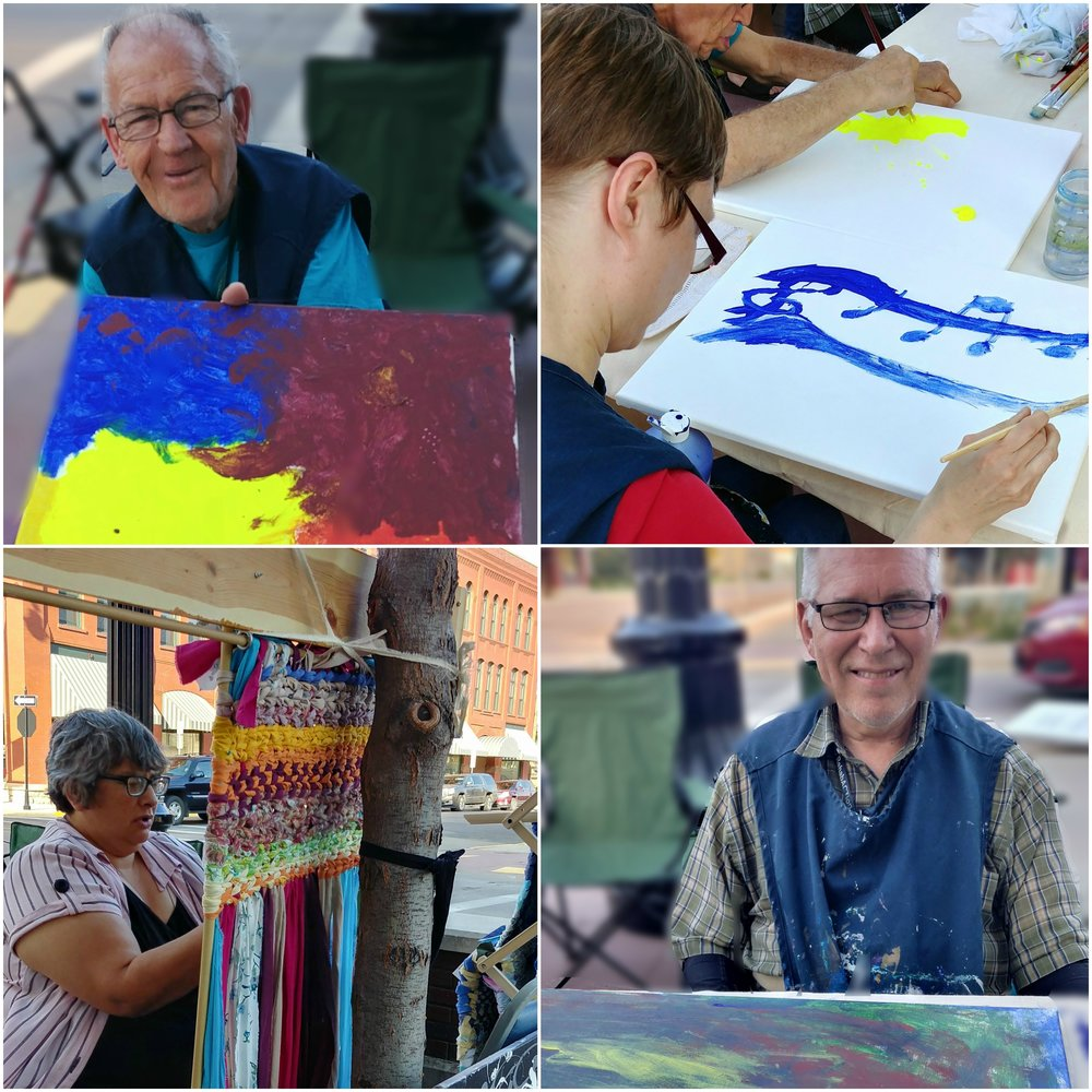 Creative Expressions artists creating at the Wine Walk.