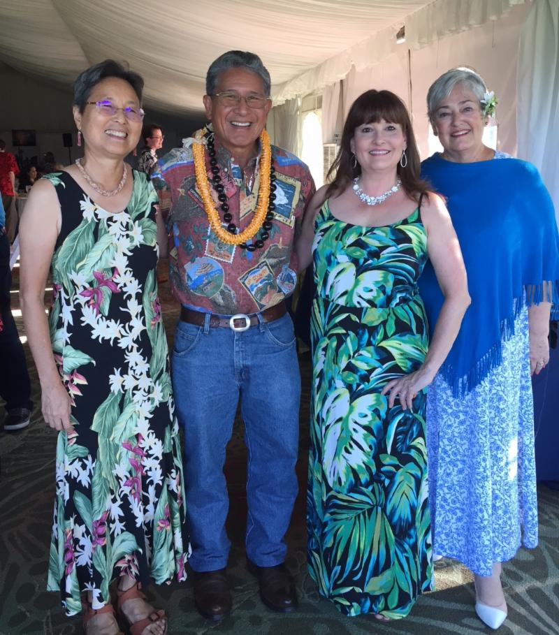 Danny Akaka, Jr. and Susan Durbin of Mauna Lani Bay Hotel with June Tanoue & JoEllyn Romano of Halau i Ka Pono, Itasca, IL.