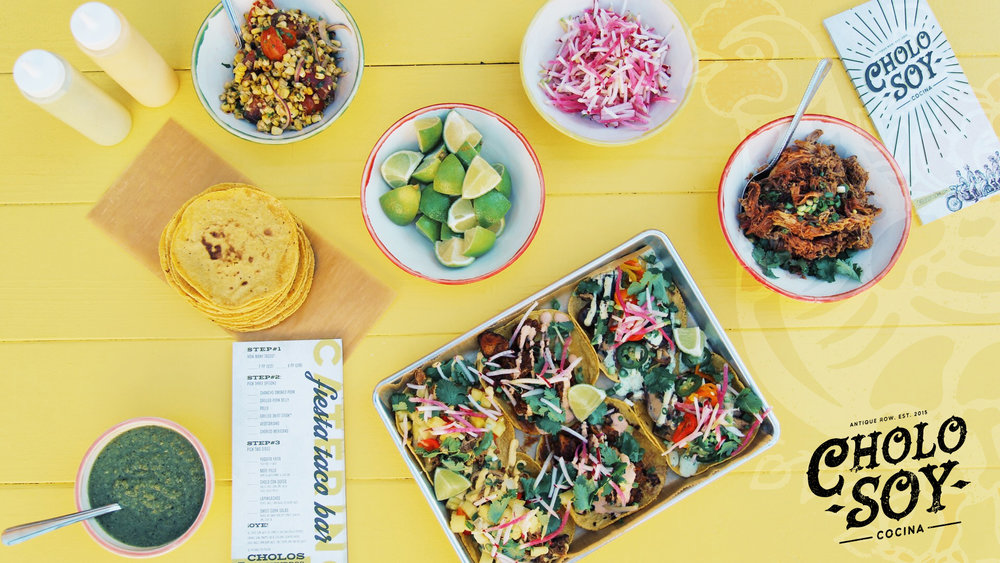 We Cater! - Whether you are having a picnic or a rehearsal dinner at home, the fiesta taco bar offers our hand crafted food directly to you. From small social gatherings, office lunches, corporate events, birthdays or just a weekend hang out, cholo soy has developed the perfect taco bar for you.