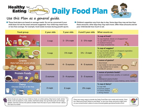 USDA Daily Food Plan for Preschoolers from ChooseMyPlate.gov