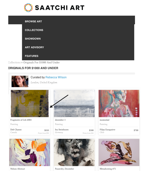 Saatchi online featured artist