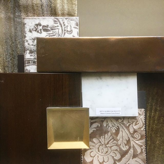 "We love this client! They said ""just make it dark and sophisticated."" Done and done! 🙌 high gloss walnut, #carreramarble #fortuny #gold....not unlike the interior of our fave #sanfrancisco #wateringhole ✨"