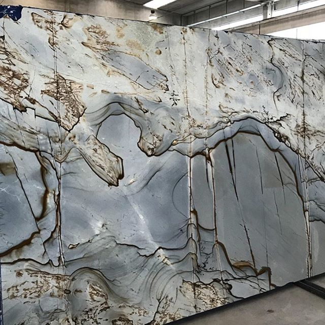 This beauty will become the master bath shower surround for our lucky Wing Point clients🙌. Do you #loveit? Meta Stone in #Seattle has 5 more in their bone yard! #bluequartzite
