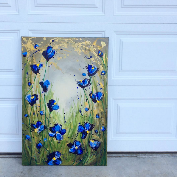 Vertical Blue Poppies