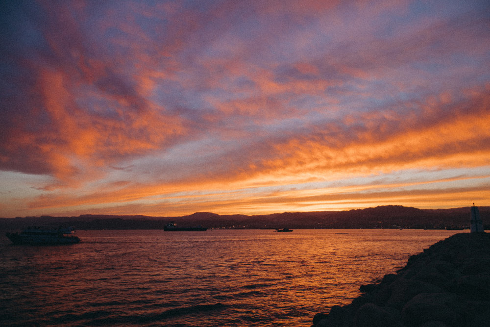 We made it just in time for the sunset in Aqaba!! A stunning town on the edge of the Red Sea. You can see 4 other countries from the ocean. The colors were insane.