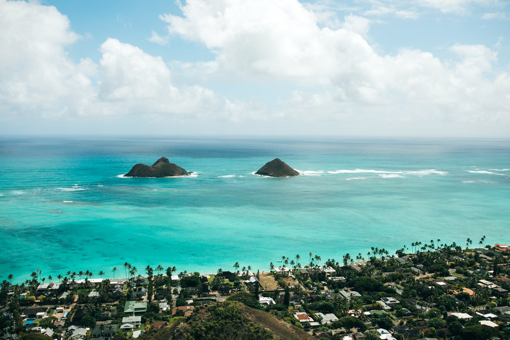 You can see Lanikai Beach and other east side beaches from above while hiking! The east side of Oahu is known for the beautiful blue water and powdery white sand.