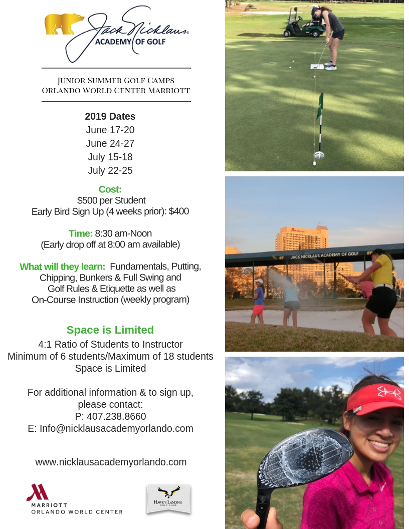 Perfect your game at the Nicklaus academy Junior summer camps! -