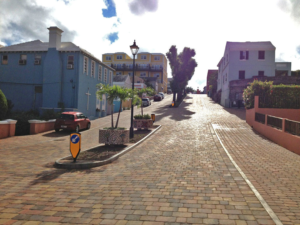 Ewing Street, Hamilton |  Concrete pavers on road and sidewalk gives an old world flair.