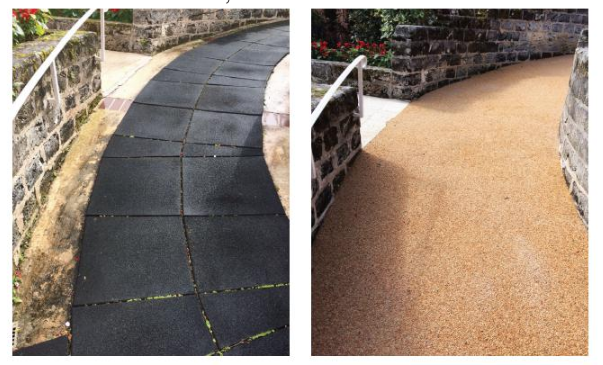 Before and after FilterPave: Mid Ocean Club cottages.