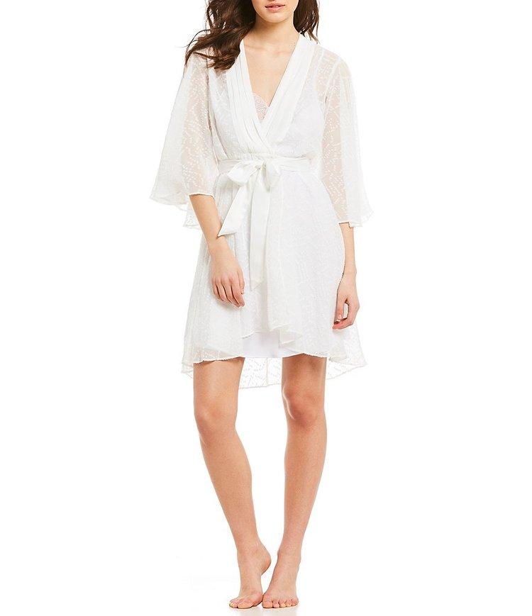 29e92021f66 H Halston Chiffon Short Wrap Kimono Robe