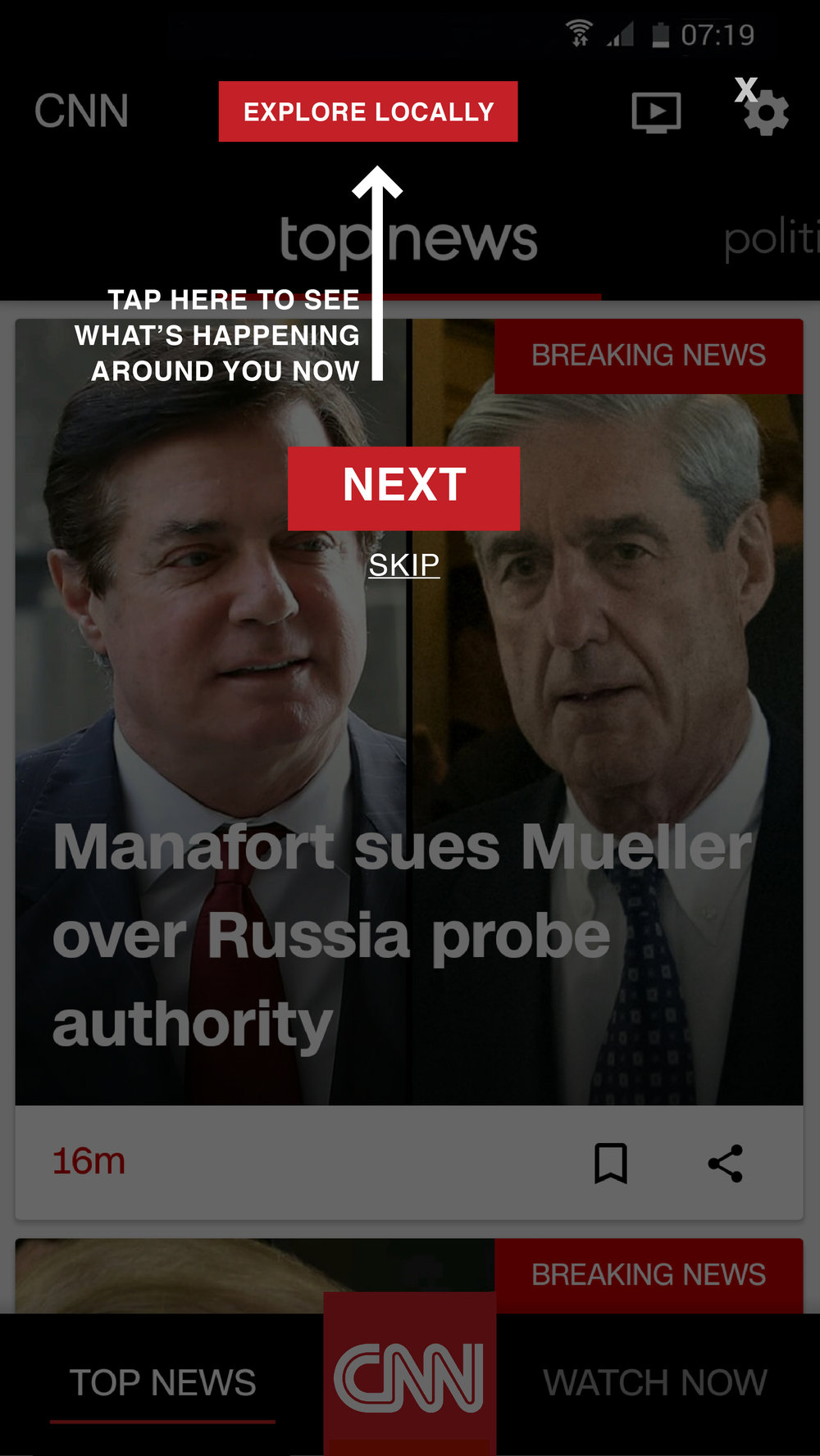 CNN App Home Page