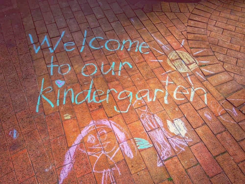 Welcome to our Kindergarten chalk drawing on Chiselhurst entrance path