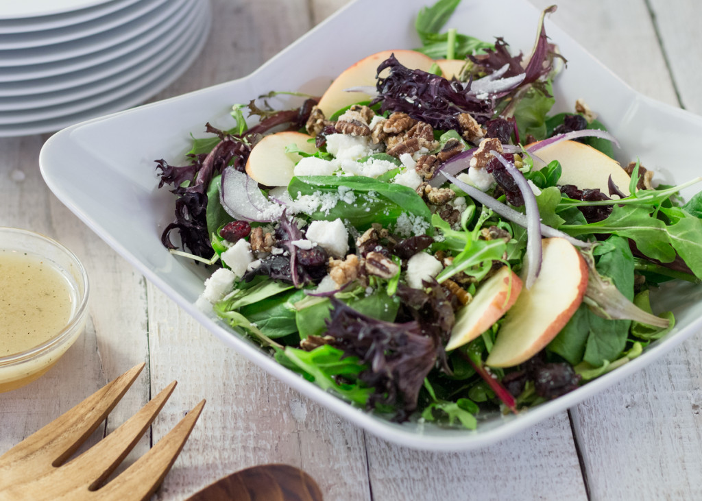 Fruit, nut, and cheese toss salad is one of our GO-TO's! It doesn't disappoint!