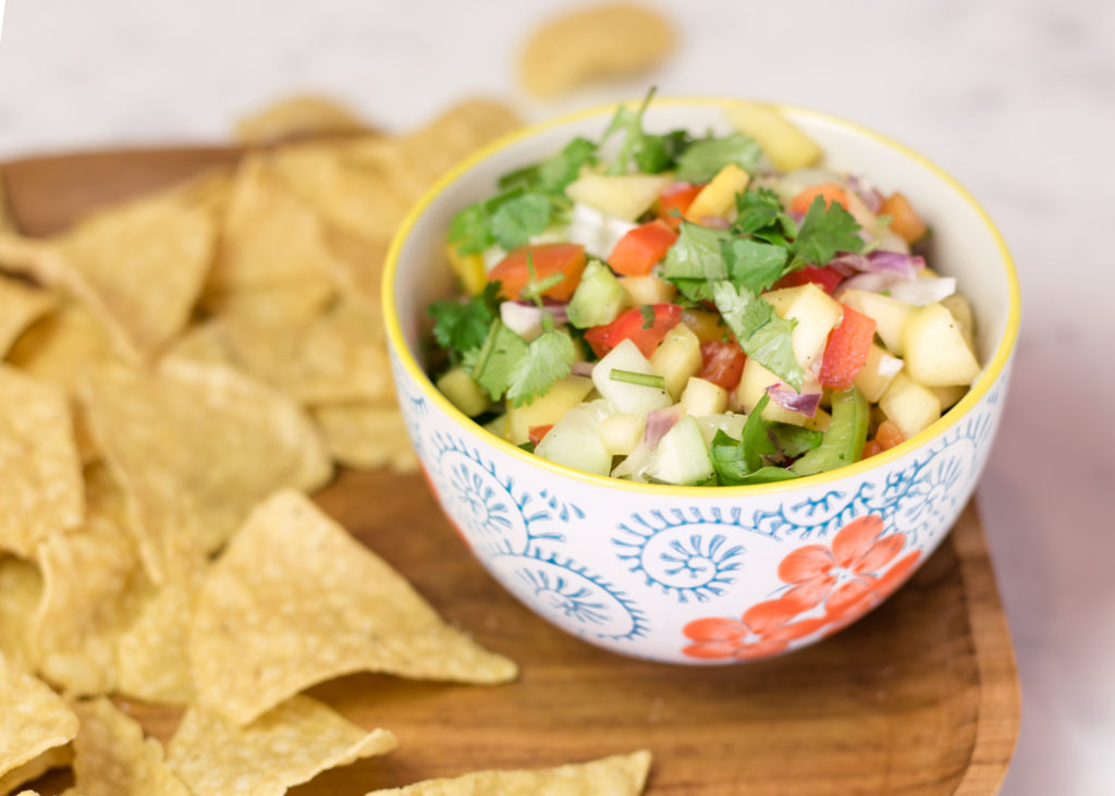 Mango Salsa! A favorite! Put it on everything.....chips, tilapia, chicken, pork.....you name it and it tastes amazing!! thefoodnanny.com