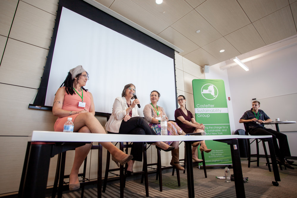 From Left to Right: Joy Beckerman (President of Hemp Industries Association), Assemblywoman Donna Lupardo, Veronica Carpio (Founder GrowHempColorado), Cristina Buccola (Counsel to CSG and cannabis policy activist) at our Hemp Summit Public Policy Panel.