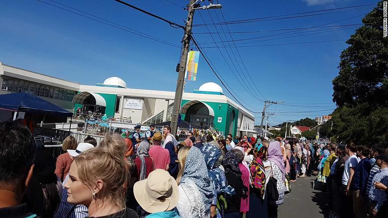 Hundreds of people formed a human chain around the Kilbirnie Mosque in Wellington, New Zealand on Friday, March 22.