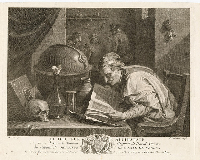 Image: Paul K.,  Le Docteur Alchimiste (18th cent.) , bibliodyssey.blogspot.com/2008/10/alchemy-laboratories.html