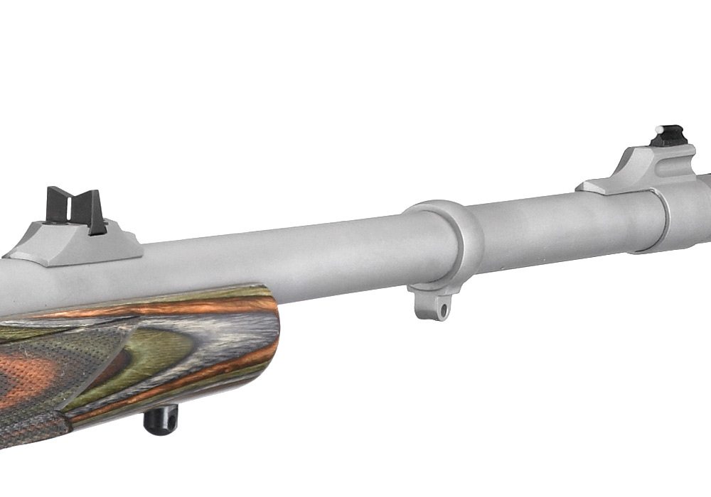 Ruger Guide Gun with a one-leaf express sight installed from the factory. Other variations have multiple flip-up leafs marked for various ranges. Picture from Ruger.com