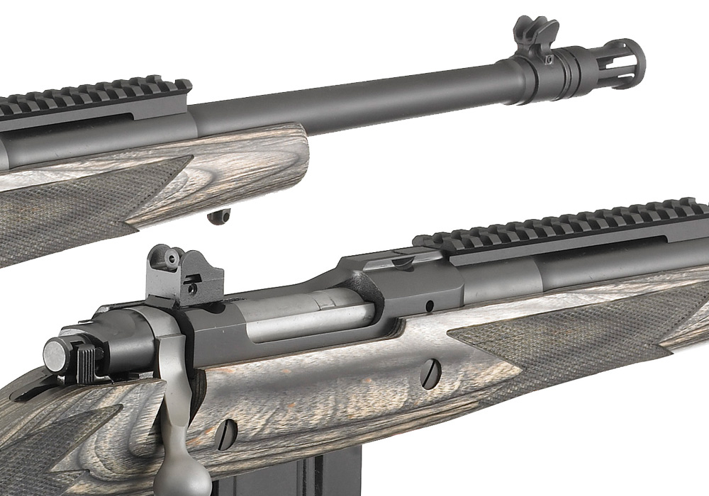 The Ruger Gunsite Scout Rifle sports a military-style aperture sight. All adjustments are made on the rear sight. The aperture sight is battle-tested as all modern military rifles are equipped with them. Picture from Ruger.com
