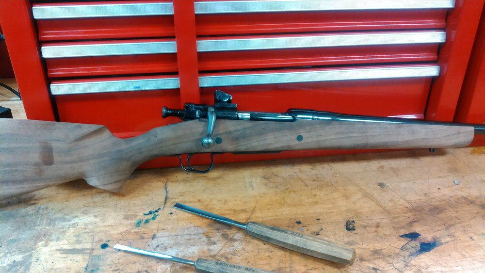 Working on re-stocking a Springfield 1903A3 with a semi-inlet walnut stock.