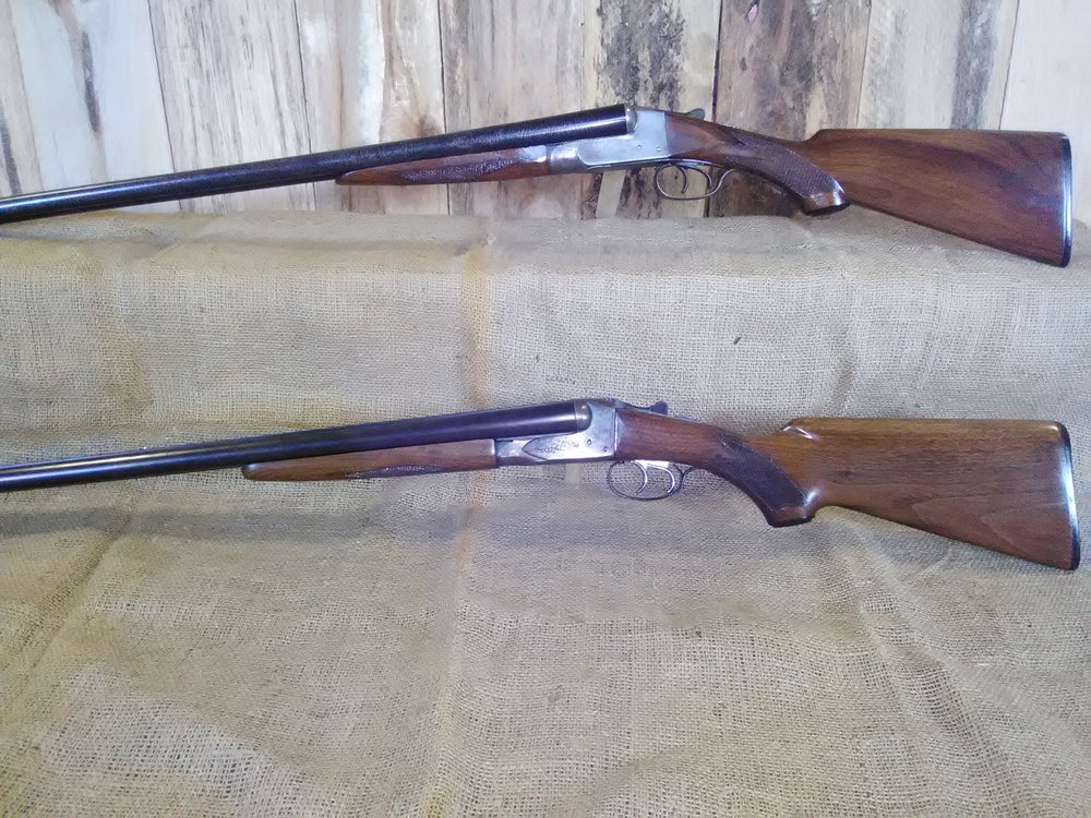 The two refinished shotguns, side by side. Ithaca on top and Savage on bottom.