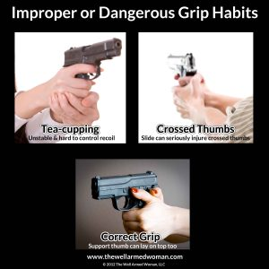 """This picture from  The Well Armed Woman is a great example of two common """"bad"""" grips and one very good grip. They talk more in-depth about this issue at the link."""