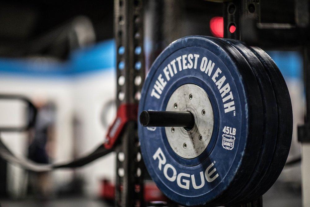 Romeo Athletics Gym Facility Barbell Squar Rack Rogue Fitness Plates.jpg