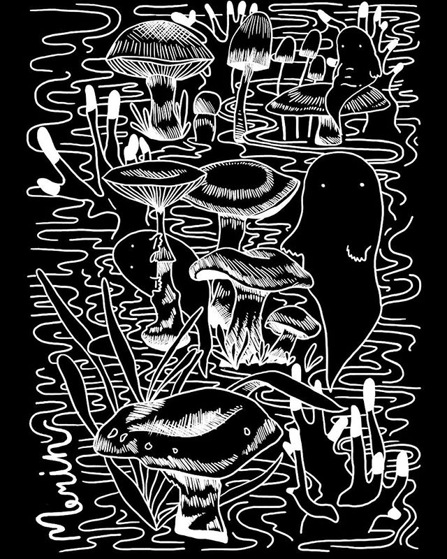 Had a blast collaborating with @merinmusic and @floodwayprintco on these shirt designs. Designing stuff people wear is super super fun. You can get one of these at their shows. Can't wait to see all you little ghosties rocking them. 👻🍄🕸 ⠀⠀⠀⠀⠀⠀⠀⠀ ⠀⠀⠀⠀⠀⠀⠀⠀⠀ • • • ⠀⠀⠀⠀⠀⠀ ⠀⠀⠀⠀⠀⠀ ⠀⠀⠀⠀⠀⠀ ⠀#shirtdesign #winnipegbands #illustration #winnipegdesign #merinmusic #brennalinton #brennalintonart #floodwayprintco #blackandwhite #bw #manitobamade #bandshirt #wpgdesign #illustrator