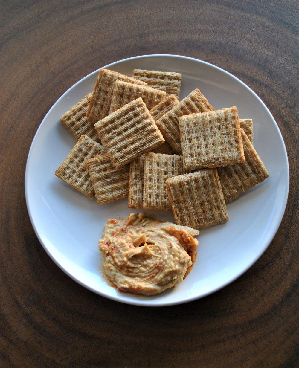 easy vegan snacks triscuits with hummus.jpg