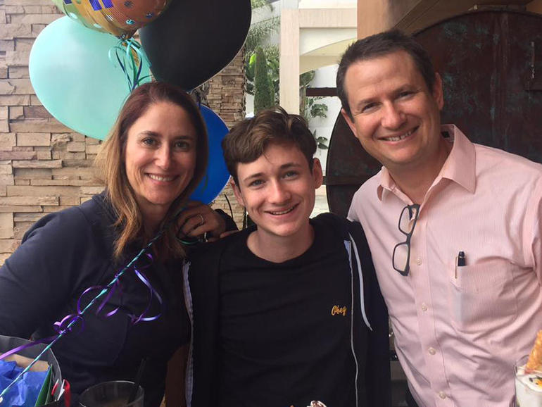 """Blaze Bernstein with his parents Gideon and Jeanne Pepper Bernstein. """"He liked to turn the ordinary into the extraordinary,"""" Gideon said of his son.    GIDEON BERNSTEIN"""