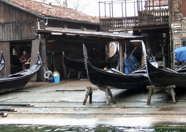 "Gondola ""factory"" in Venice, present day"