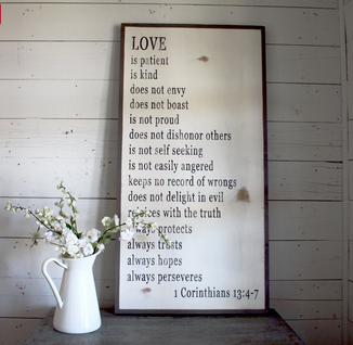 Sign available at Magnolia Market, 1 Cor 13:4-7
