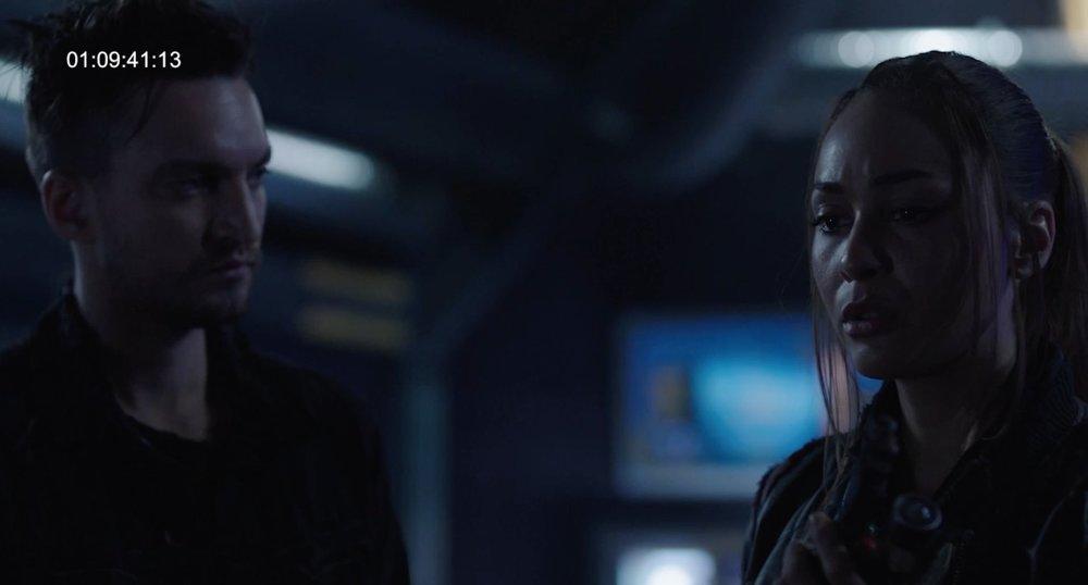 John Murphy and Raven Reyes (Lindsey Morgan) in Season 5 of  The 100  (via @JRothenbergTV)