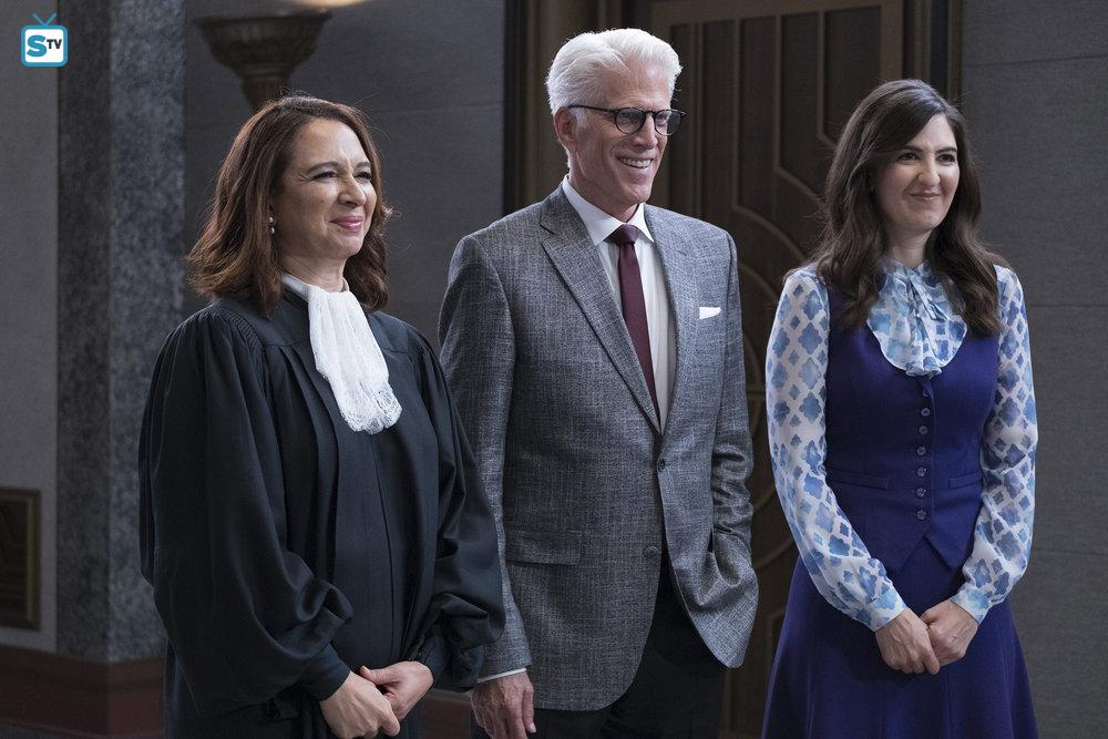 The Judge (Maya Rudolph), Michael (Ted Danson), and Janet (D'Arcy Carden)