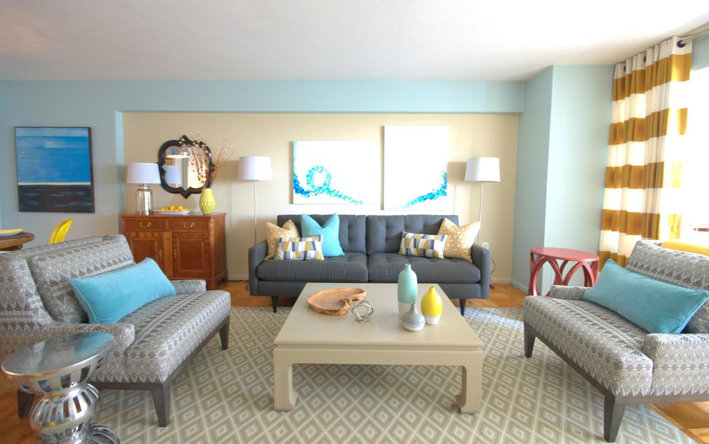 Modern style living with printed couches