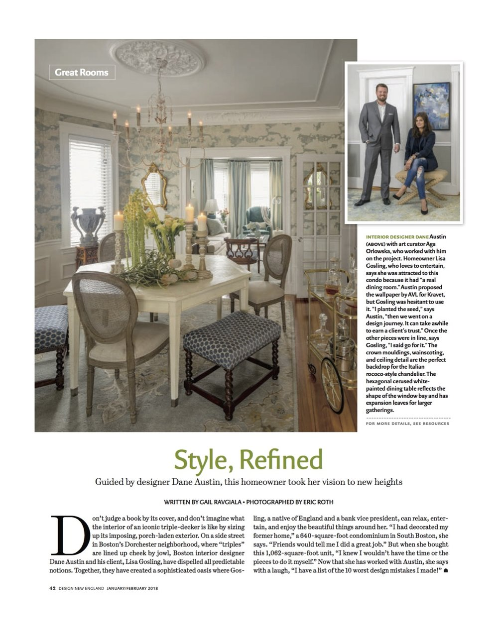 Style, Refined. Design New England Magazine January- February 2018 issue