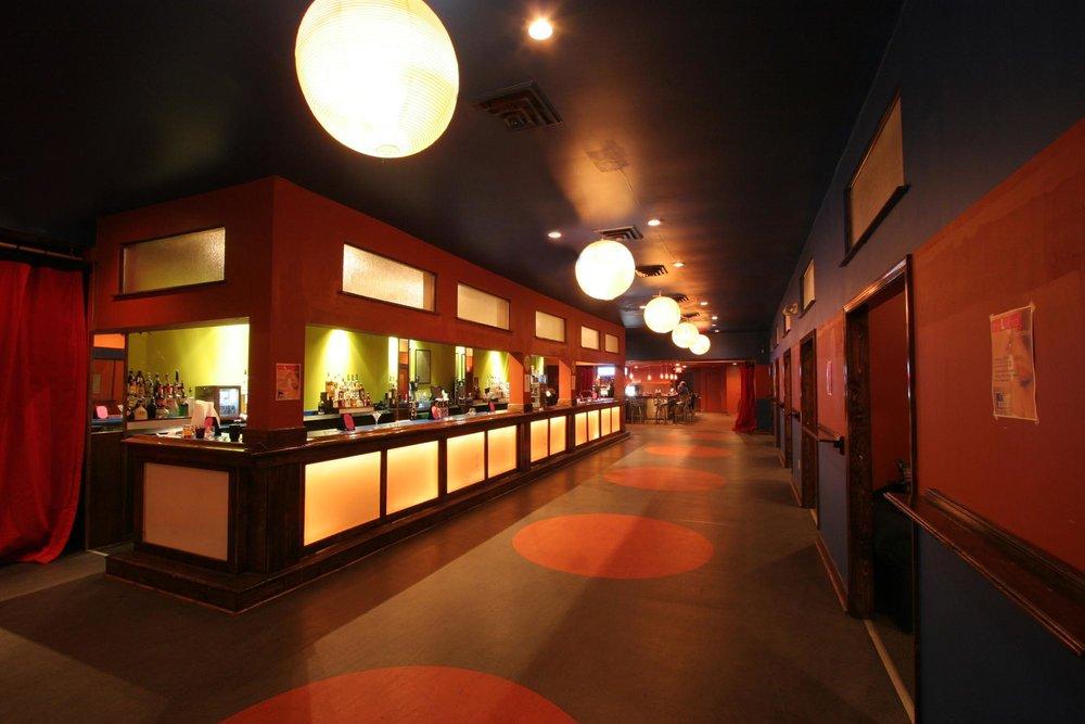 Restaurant hallway in low light