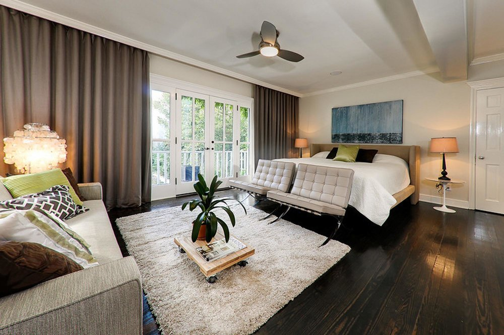 Master Bedroom Design with living room and plant on pot