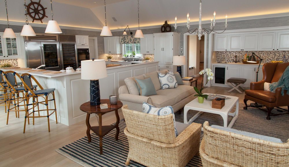 Living room and kitchen design with stylish ceiling lights and sofa set