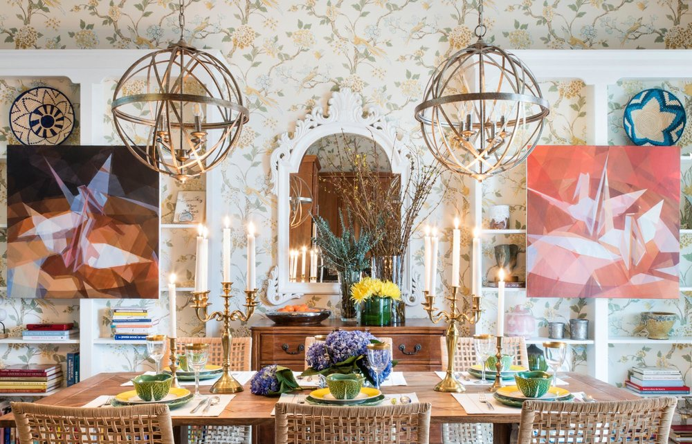 An ornately decorated dining room with soft colors