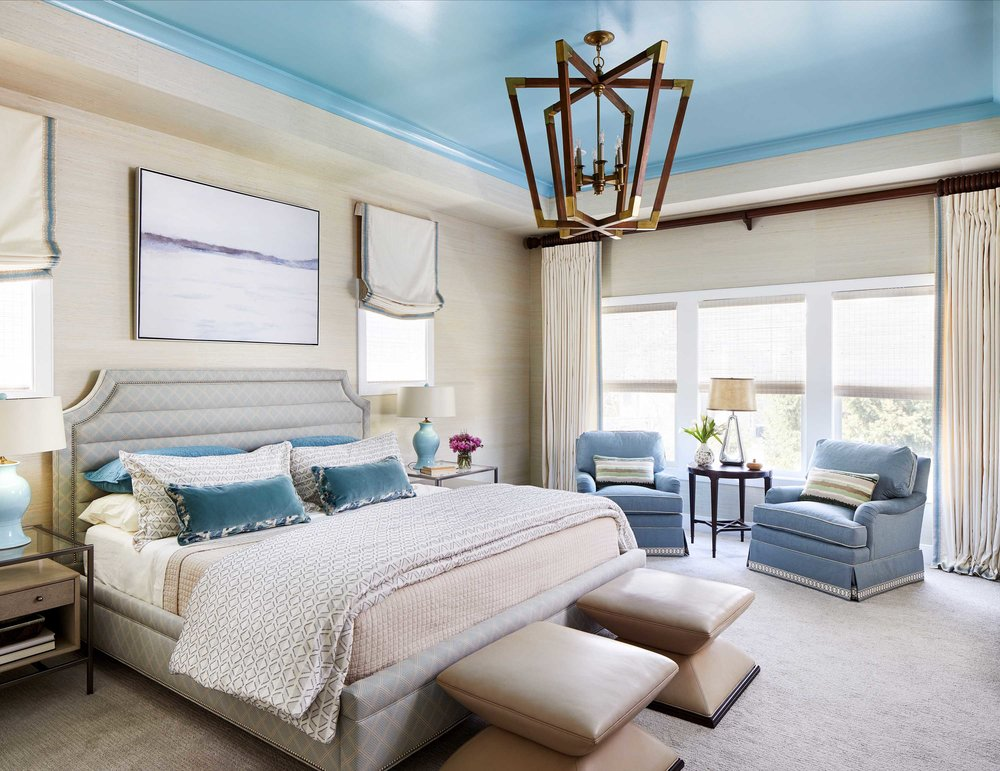 Luxurious bedroom with sky blue ceiling