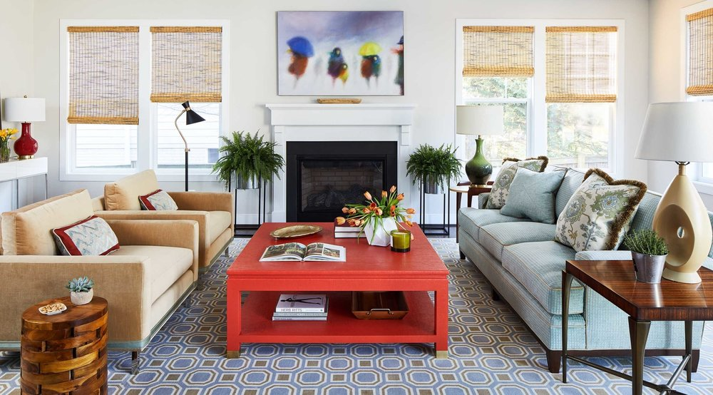 Colorful living room with fire engine red coffee table
