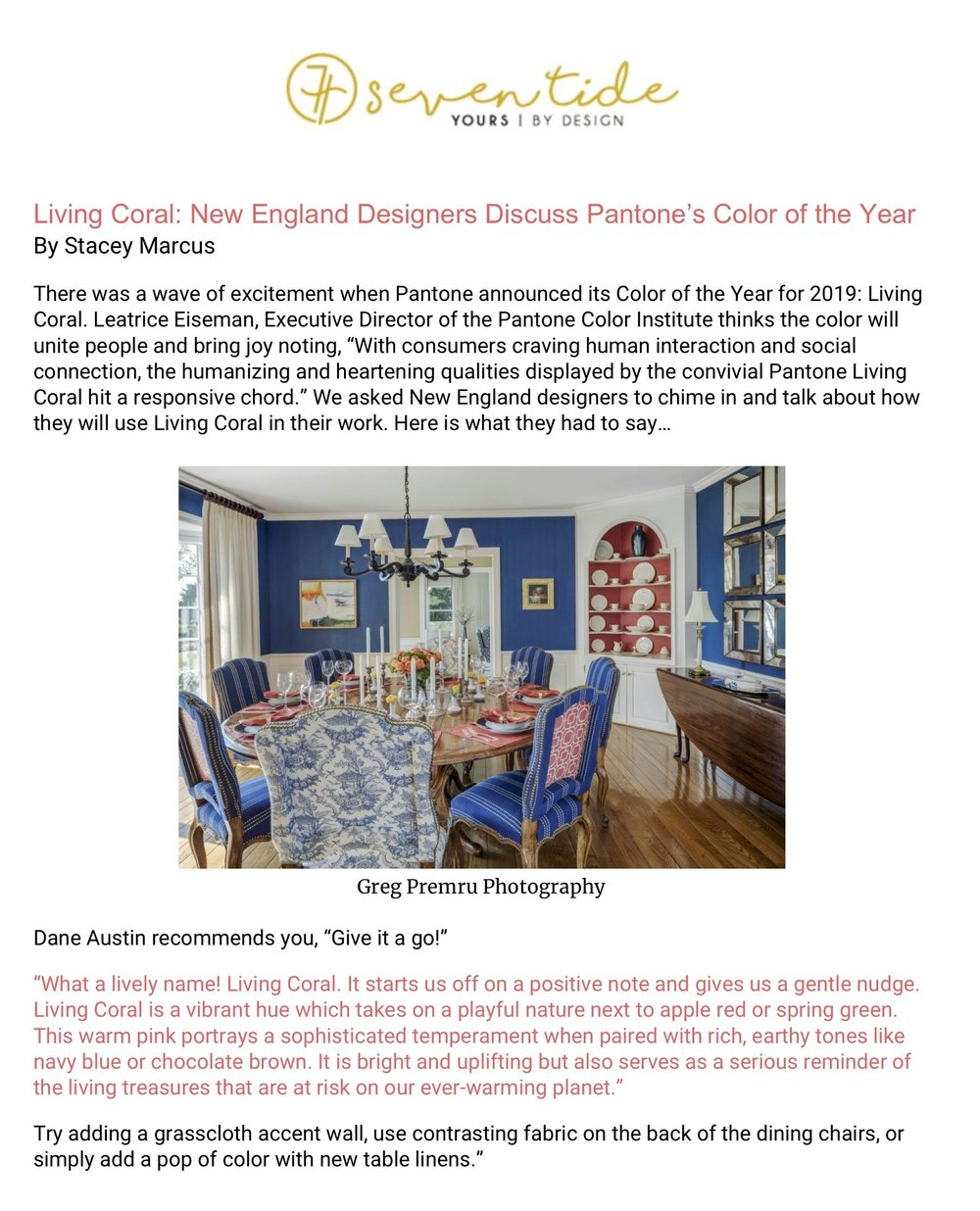 Dane Austin Design featured in Seven Tide: Living Coral, January 2019