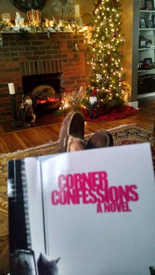 Pictorial definition of a good Saturday morning:  A friend of mine, sitting down to read her new copy of Corner Confessions, December 2016.