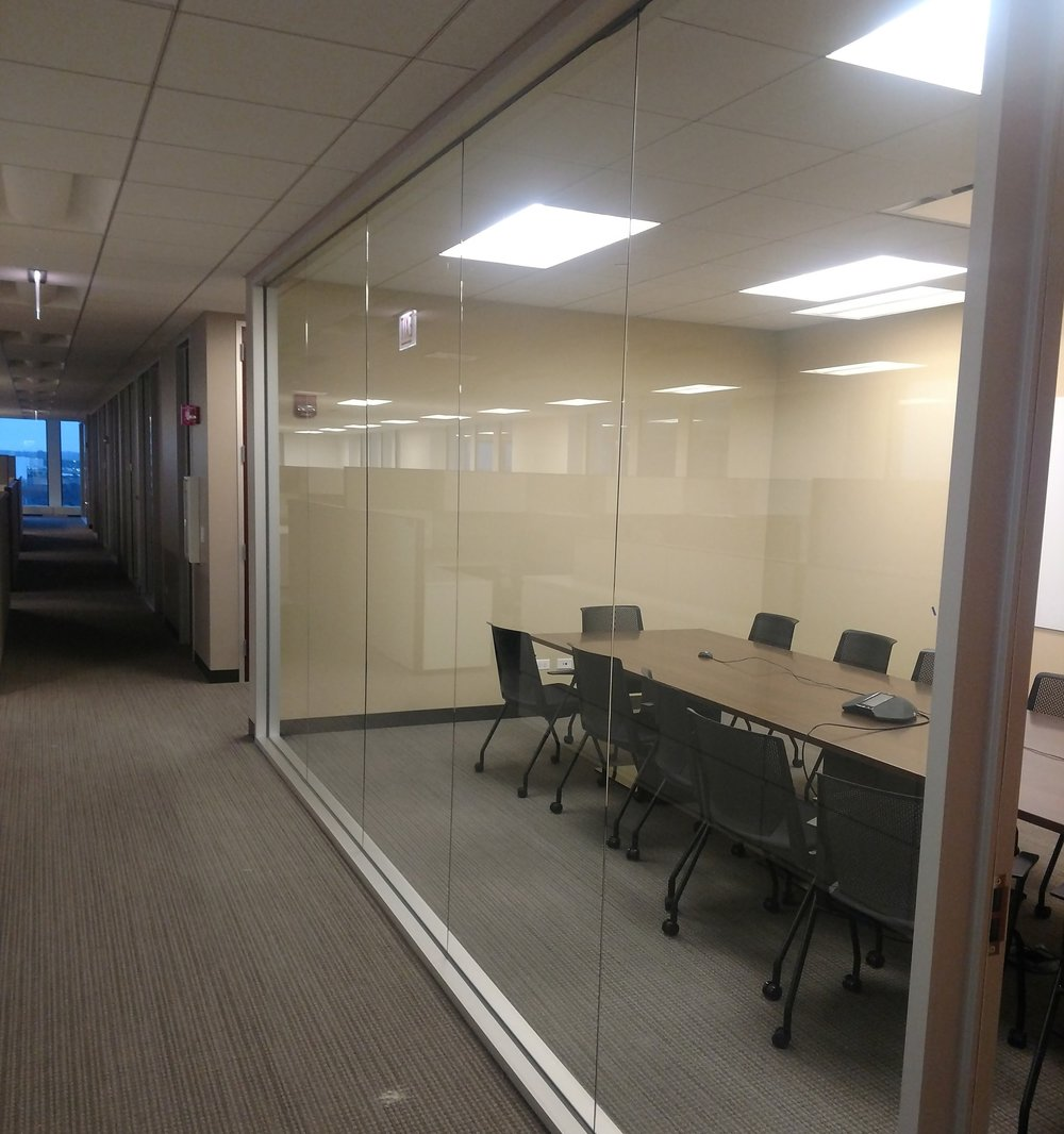 Office Glass Partition Installed By Clear View Industries Inc.